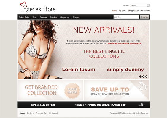 lingeries virtuemart template