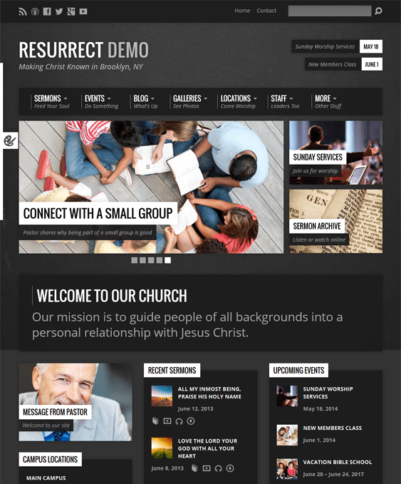 resurrect church wordpress theme