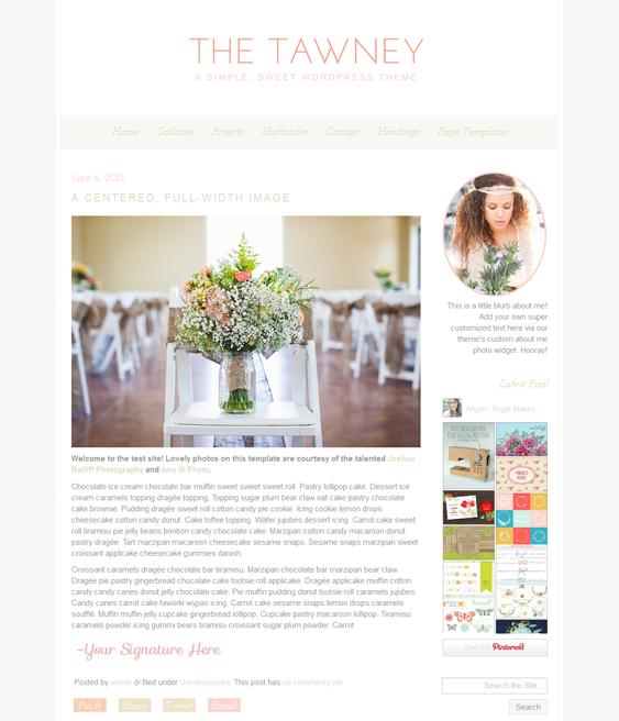 tawney wedding wordpress theme