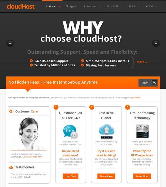 cloudhost web hosting joomla theme