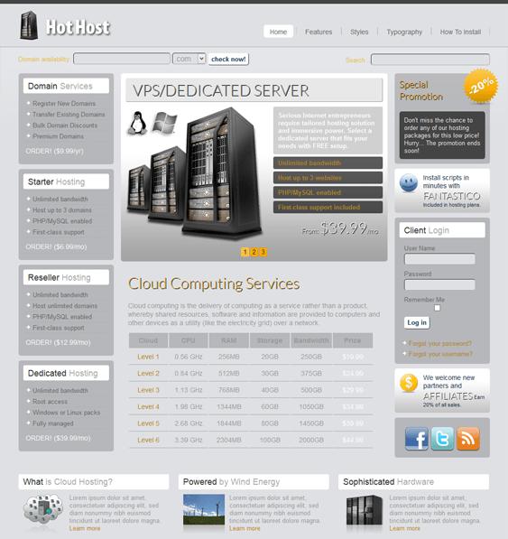 hot host web hosting joomla theme
