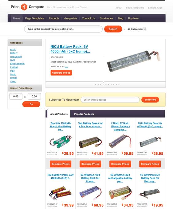 price compare price comparison wordpress theme