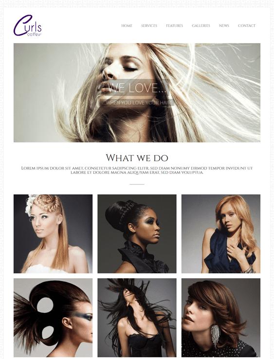 curls beauty salon spa wordpress theme