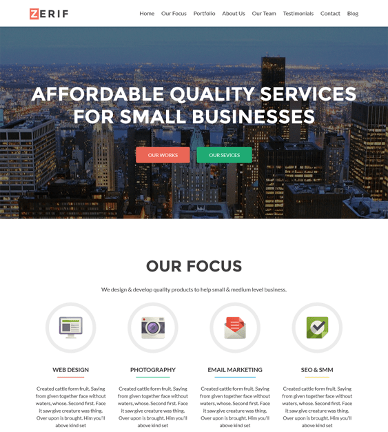zerif one page wordpress themes