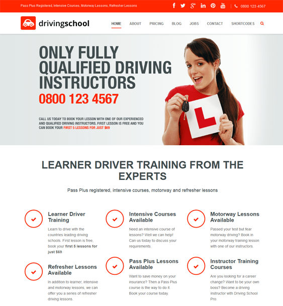 driving school education wordpress theme