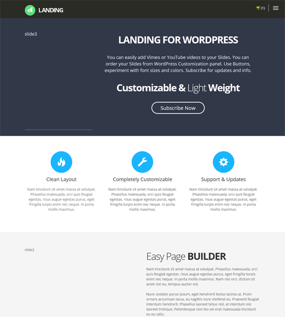 landing landing page wordpress theme
