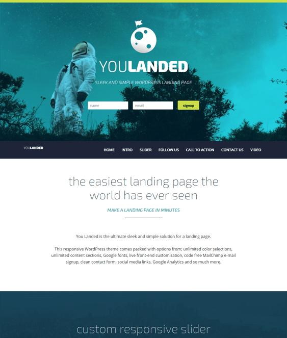 you landed landing page wordpress theme