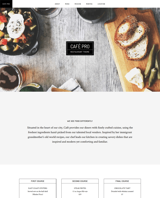 cafe pro restaurant wordpress theme