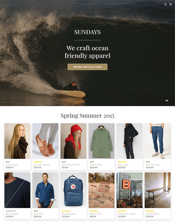 california shopify themes clothing stores