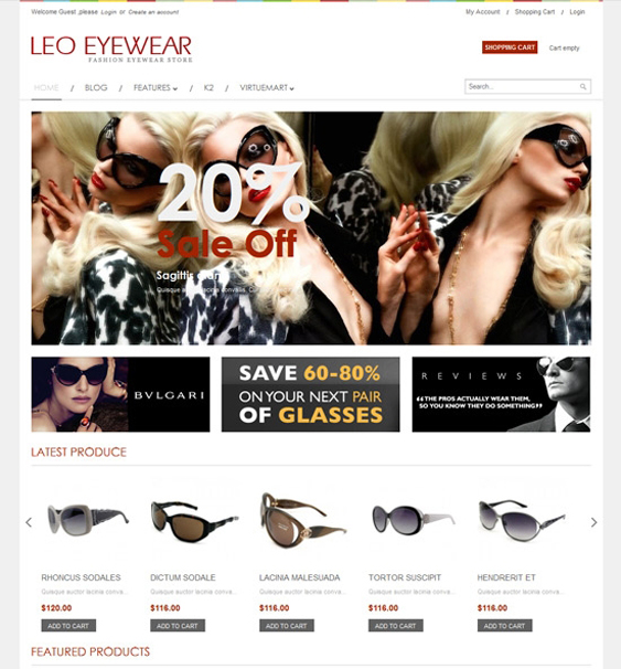 leo eyewear virtuemart tmeplate