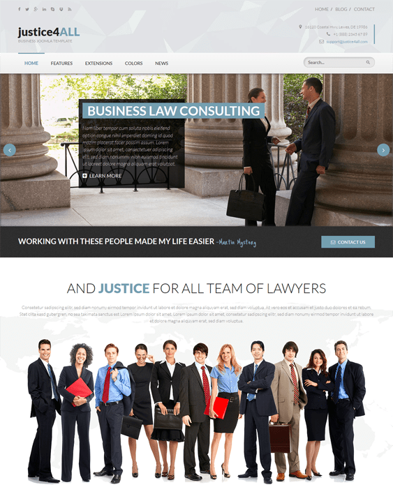 hot justice lawyer joomla templates