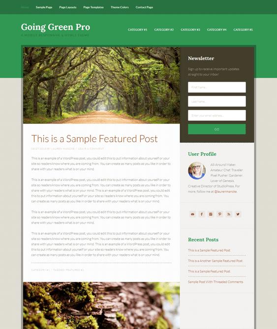 going green organic eco-friendly wordpress theme