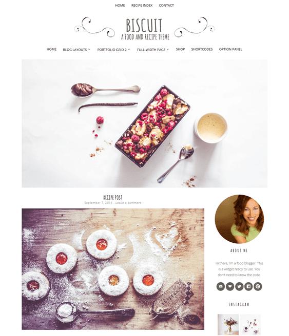 biscuit food recipe wordpress theme