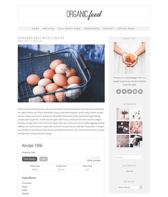 organic food recipe wordpress theme