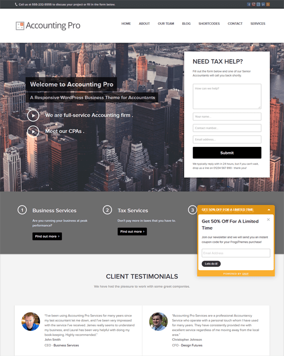 accounting pro accountant financial adviser wordpress theme