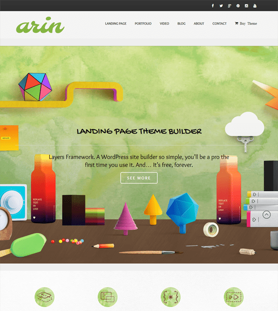 arin landing page wordpress theme