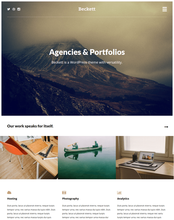 beckett portfolio wordpress themes