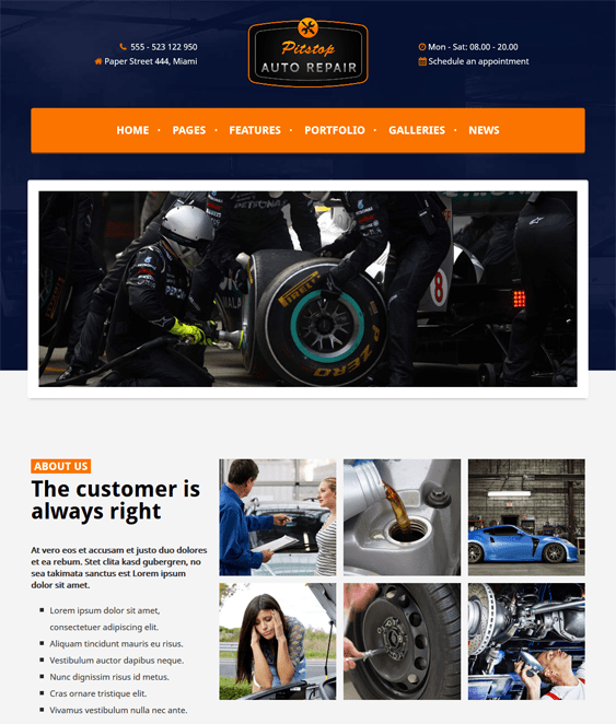 pitstop car vehicle automotive wordpress theme