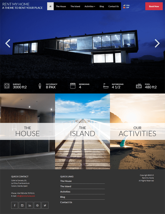 rent my home hotel wordpress theme