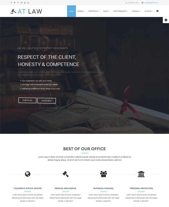 at law lawyer attorney joomla templates