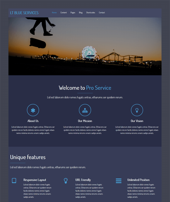 blue service dark wordpress theme