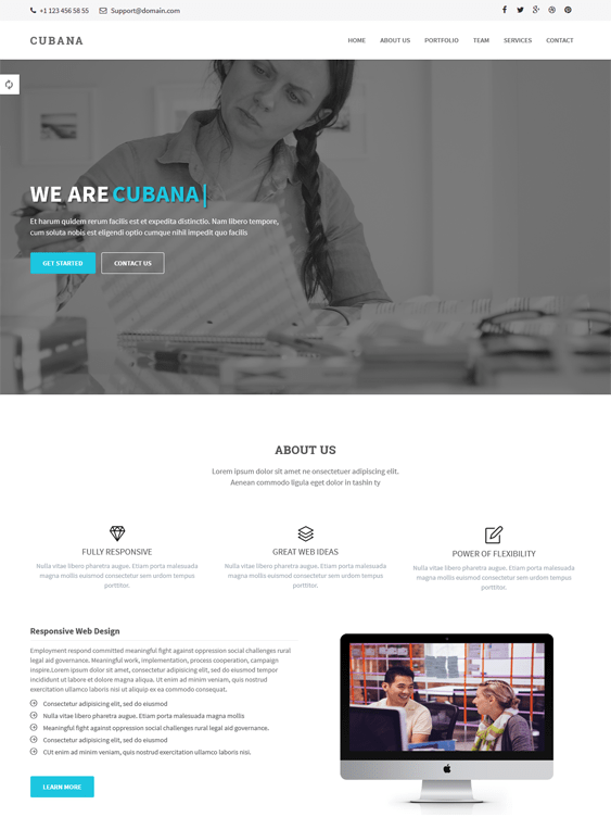 cubana one page wordpress theme