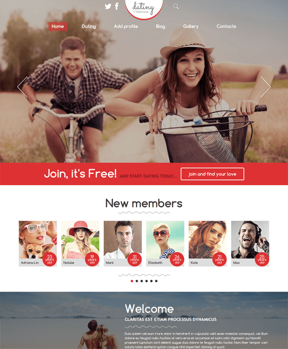 Joomla template for dating site