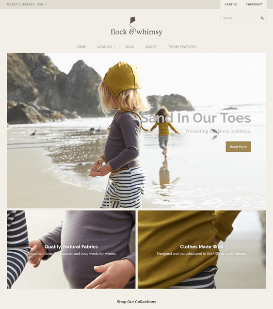 grid warm shopify themes clothing stores
