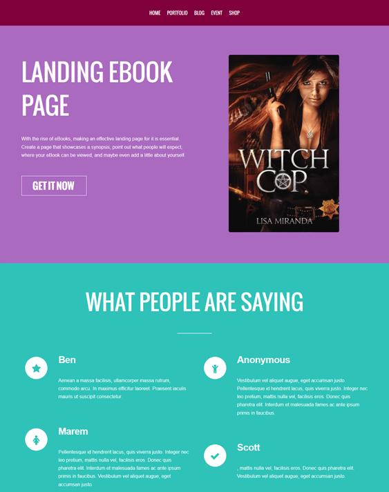 landing ebook author wordpress theme
