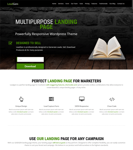 landing page ebook author wordpress theme