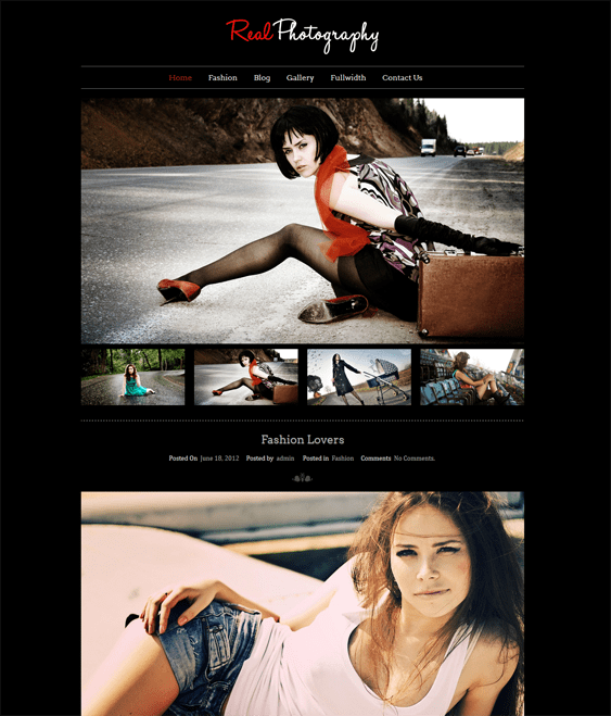 real photography dark wordpress theme
