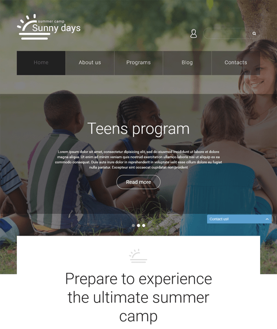 summer camp kids joomla templates
