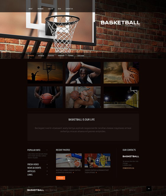 basketball dark wordpress themes