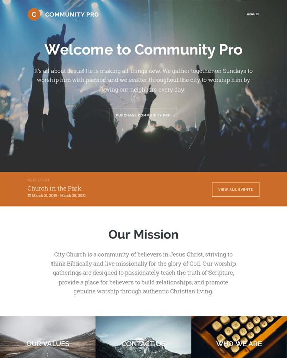 community pro church wordpress themes