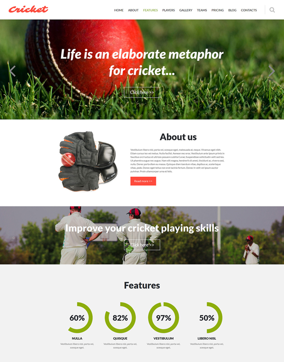 cricket one page joomla templates