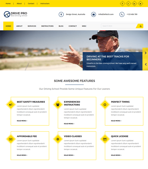 drivepro education wordpress themes
