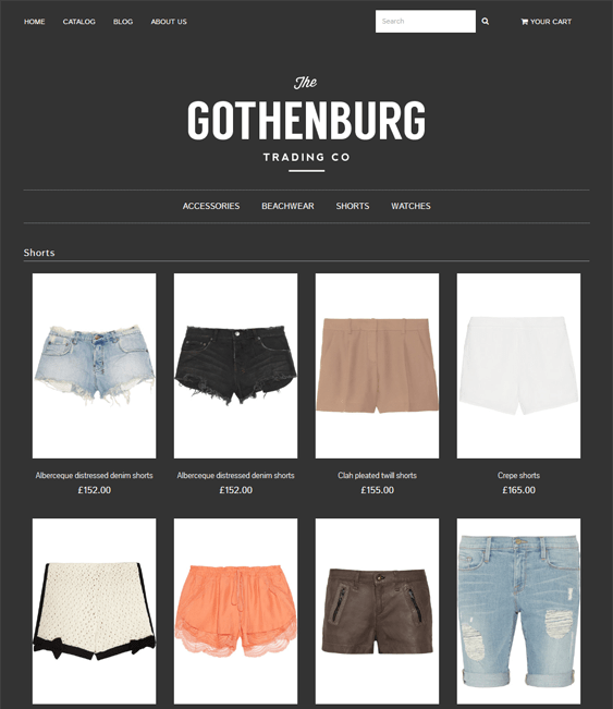 envy gothenberg shopify themes clothing stores