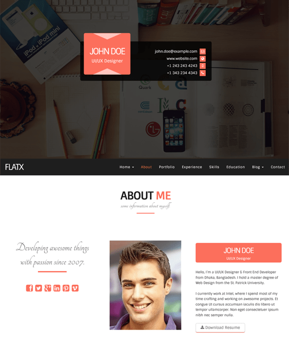 flatx resume cv wordpress themes
