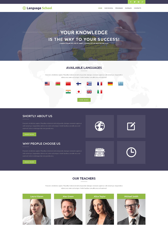 foreign language school wordpress themes