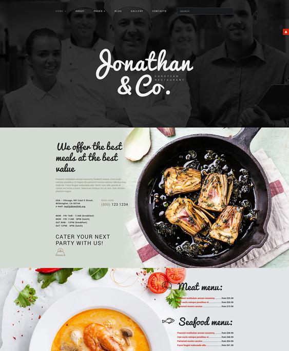 jonathan restaurant bakeries bars joomla templates
