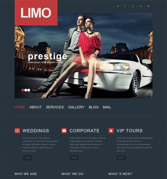 limousine services transportation wordpress themes