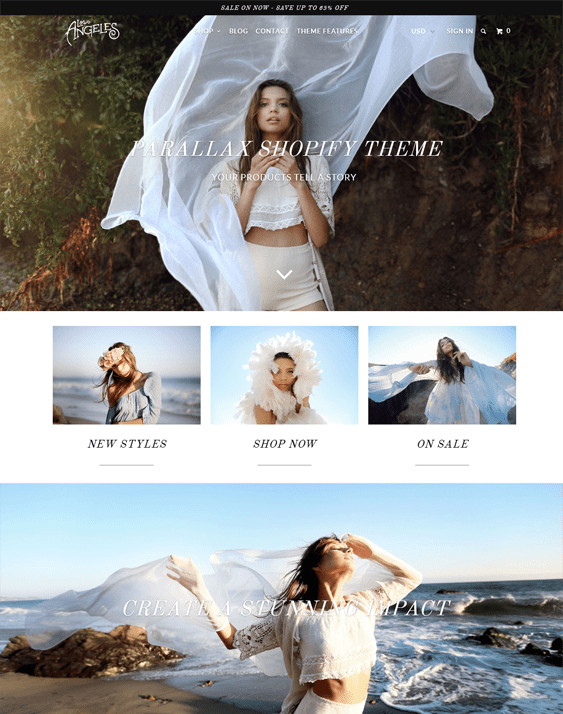 parallax losangeles shopify themes clothing stores