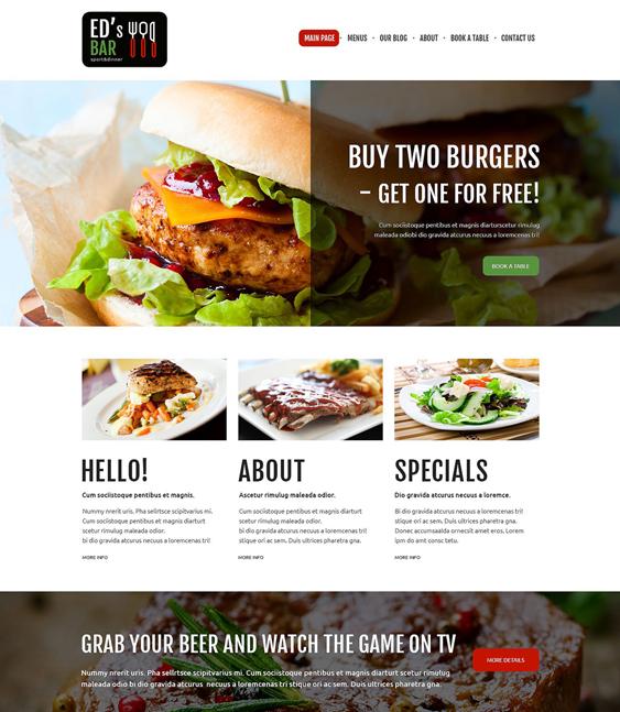 sports bar restaurant bakeries bars joomla templates