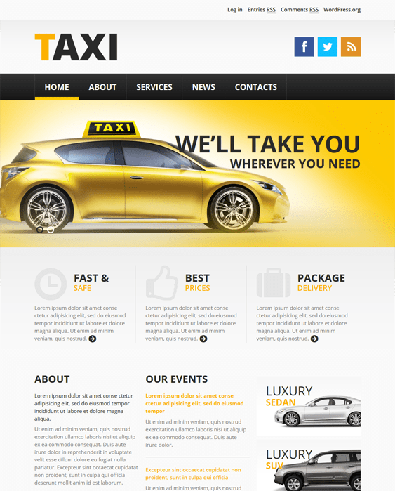 taxi transportation wordpress themes