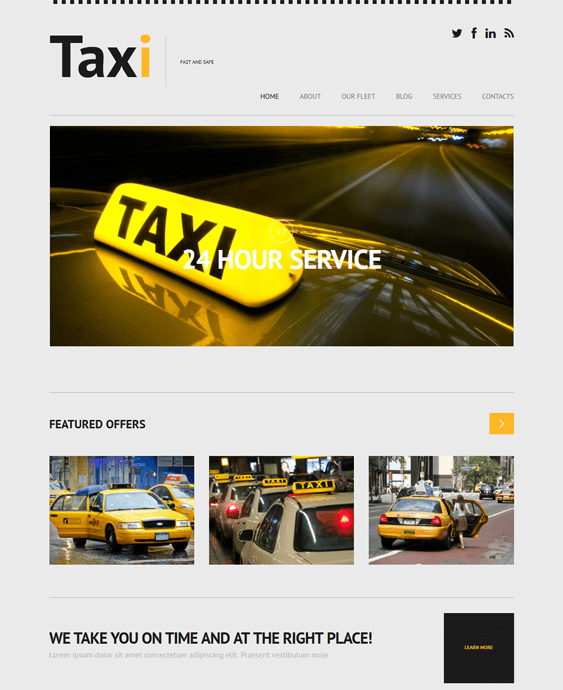 taxi responsive transportation wordpress themes