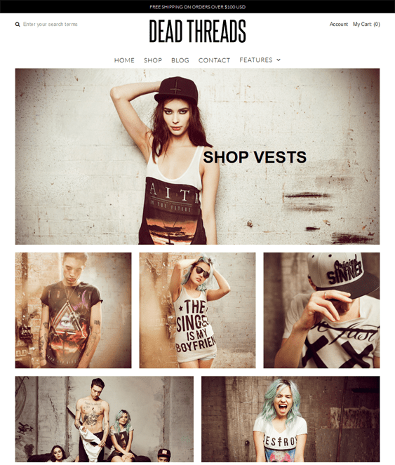 vantage clean shopify themes clothing stores