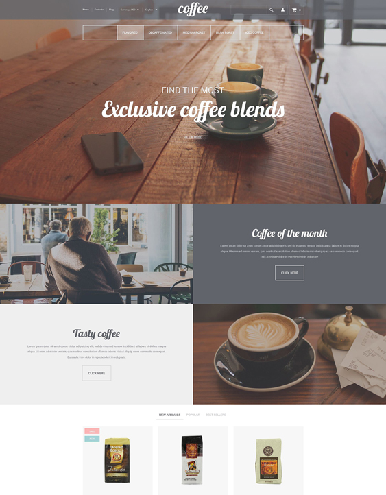 coffee house food drink shopify themes