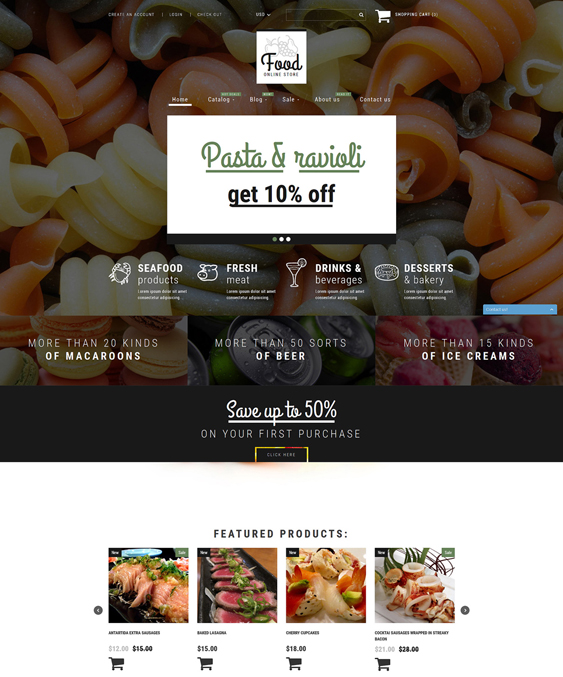 food drink shopify themes shop responsive