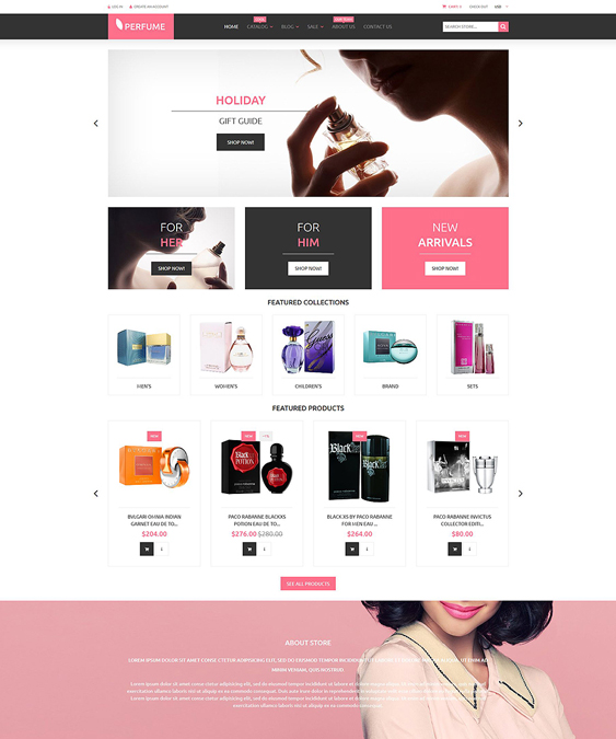 perfumes cosmetics beauty products shopify themes