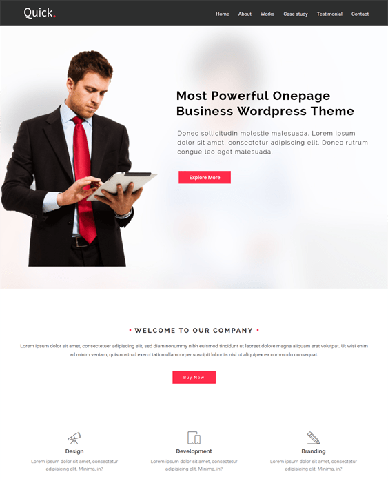 quick one page wordpress themes